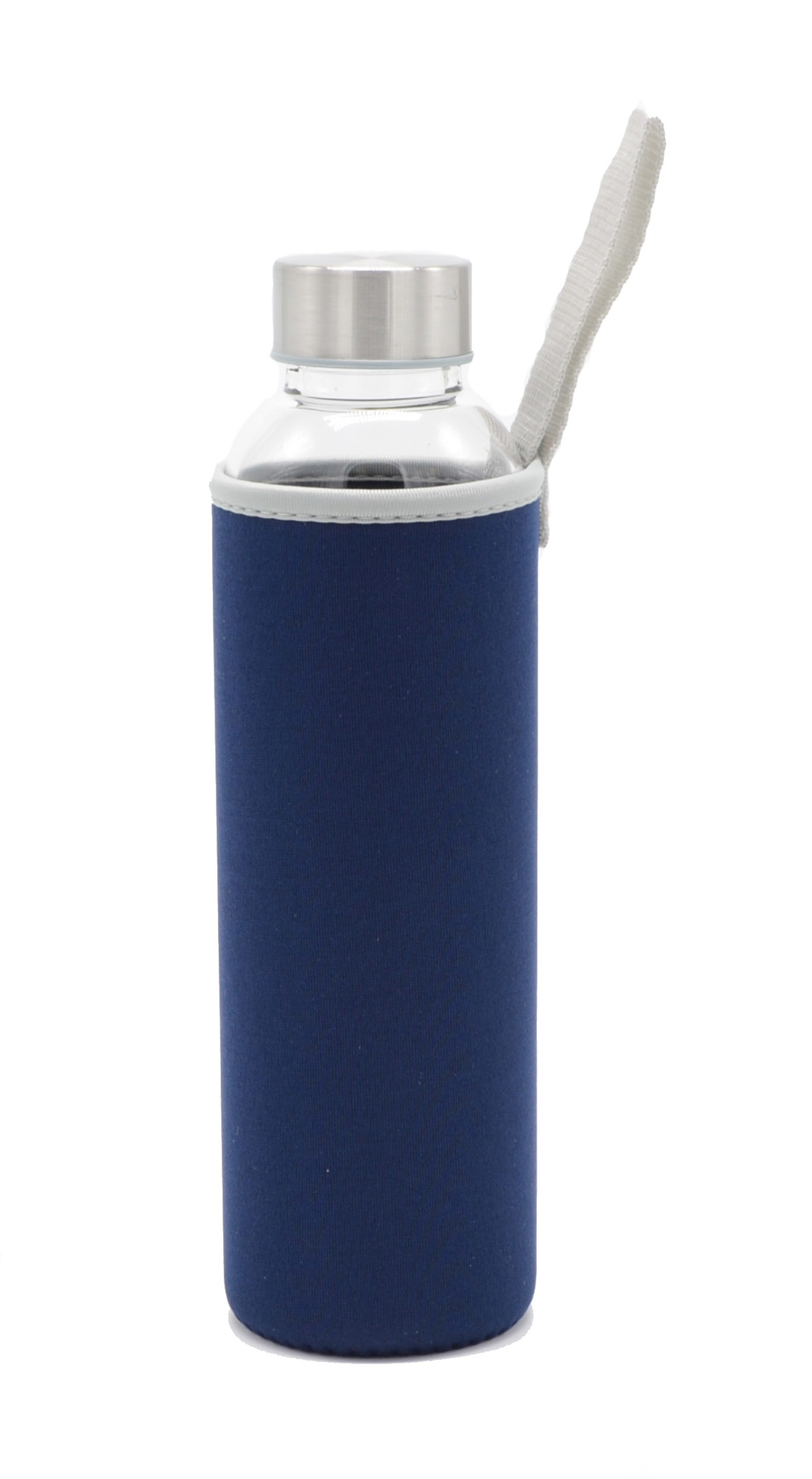 Бутылка из боросиликатного стекла с чехлом 550 мл. синяя