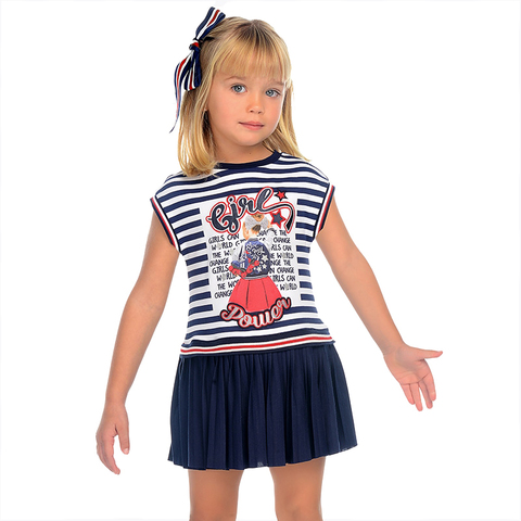 Платье Mayoral Girls Power комбинированное плиссированное