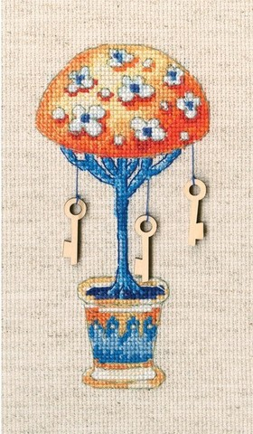 Топиарий-дерево счастья (6,5*13, Аида 16, Льняная)