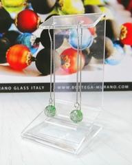 Серьги из муранского стекла на цепочке с бусиной Long Ca'D'oro Emerald Silver 030OB