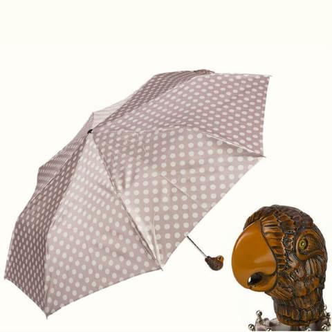 Элитный женский зонтик в горошек с ручкой деревянный попугай