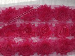 Шифоновые шебби-розы малиновые  диаметр 6 см
