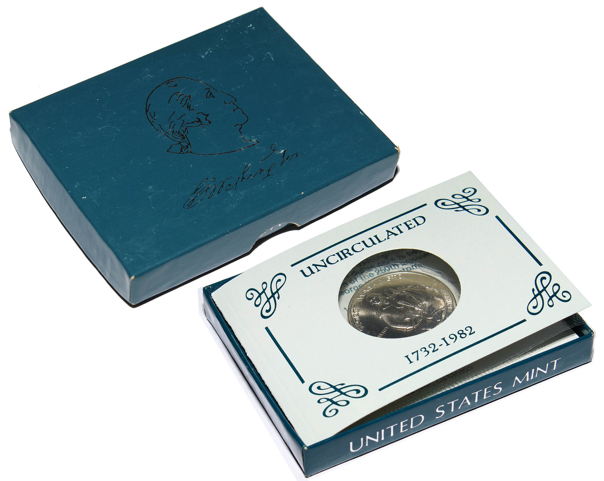 """50 центов 1982 года """"250-летие Джорджа Вашингтона"""""""