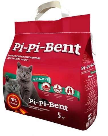 купить пи пи бент Pi-Pi-Bent Для котят комкующийся наполнитель 5 кг