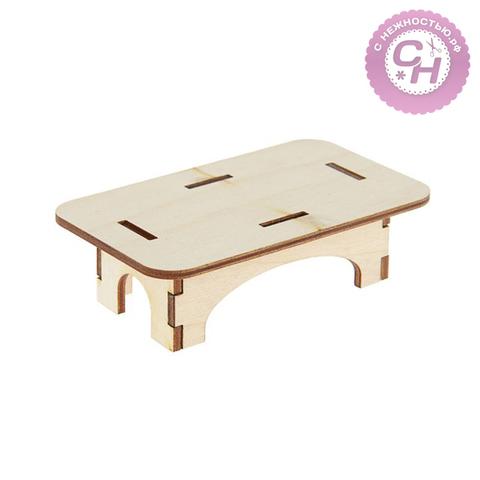Стол кукольный деревянный, мини, 10,5*6*0,9 см.