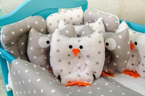Защита в кроватку от комплекта Совушки 12 шт 09-01-01 Унисекс Бязь серый