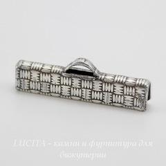 Винтажный концевик для лент 25 мм (оксид серебра)