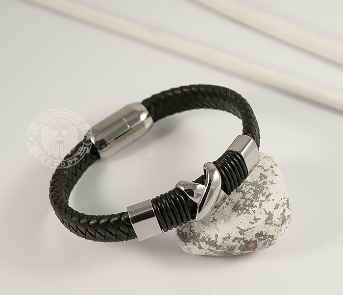 BM372 Стильный мужской браслет из стали и кожаного шнура на застежке с магнитом (21 см) фото 04