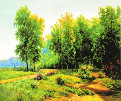Картина раскраска по номерам 50x65 Тропа к лесу (арт. RA3598)
