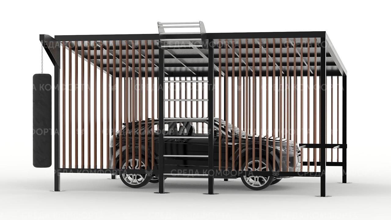 Навес для автомобиля с элементами спортивной площадки ( длина 6 м ширина 4 м высота 3 м) AVNVS0049