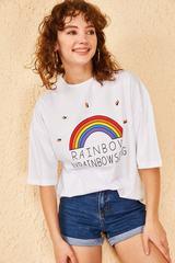 Qadın üçün geniş ölçülü ağ t-shirt Rainbow 10501027