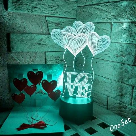 Лампа Шарики сердечки LOVE