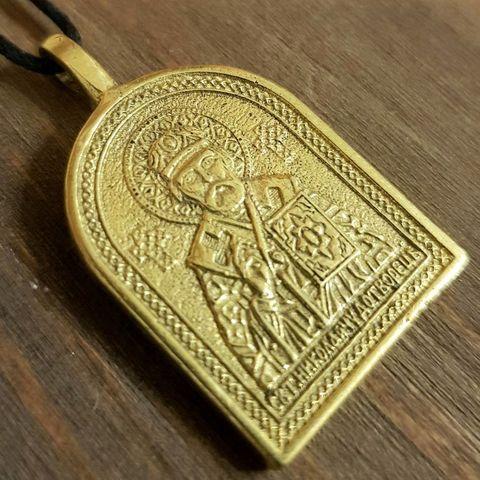 святой Николай именная нательная икона из бронзы большая кулон с молитвой