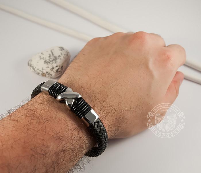BM372 Стильный мужской браслет из стали и кожаного шнура на застежке с магнитом (21 см) фото 05