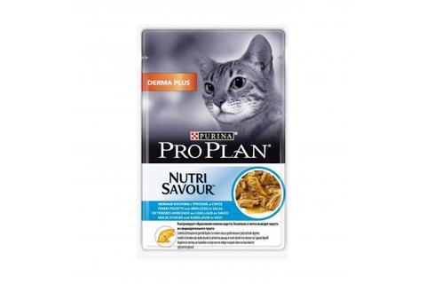 Консервы Purina Pro Plan для кошек с чувствительной кожей, треска в соусе 85 г