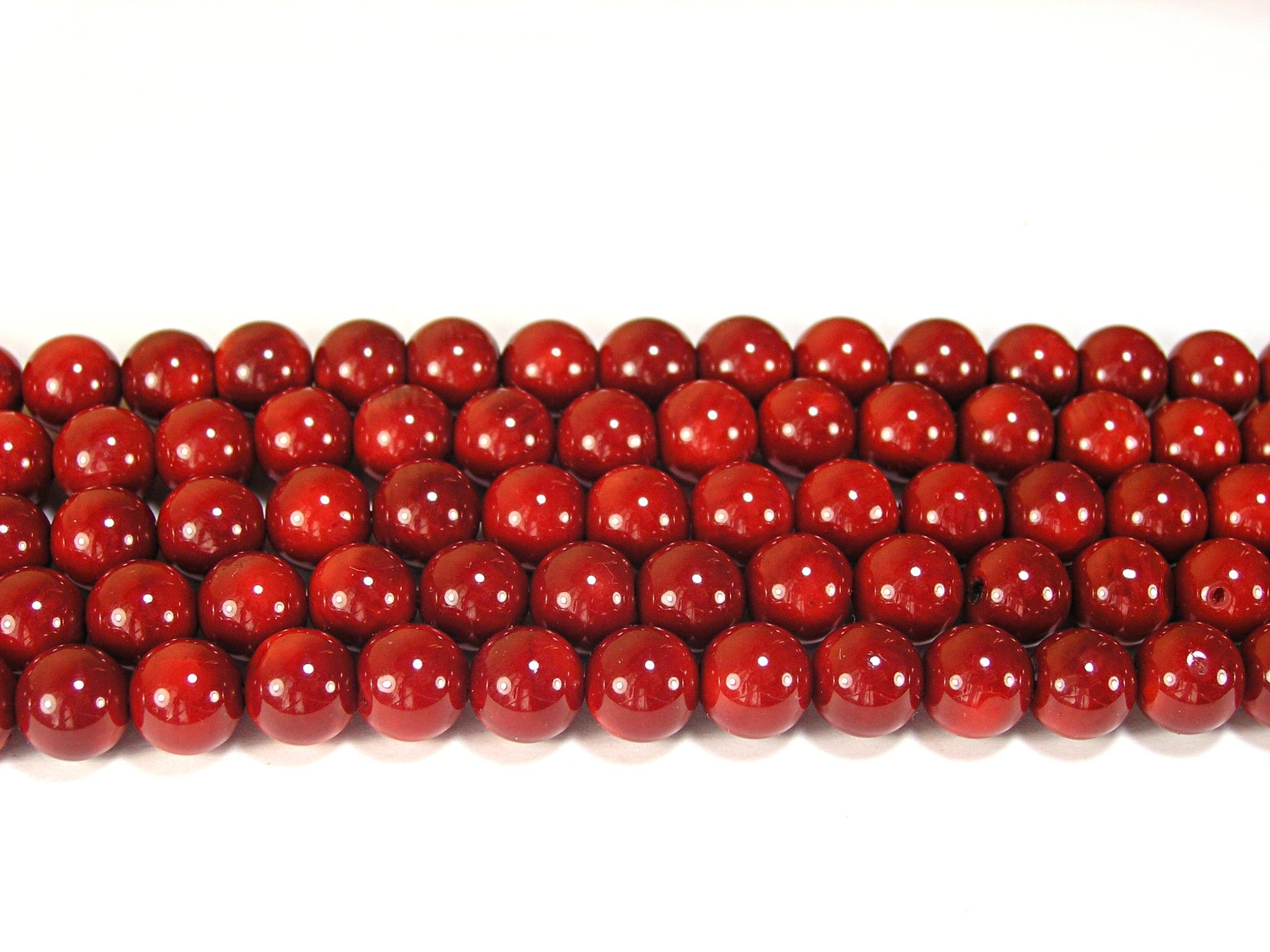Нити бусин из коралла красного, шар гладкий 10мм (оптом)