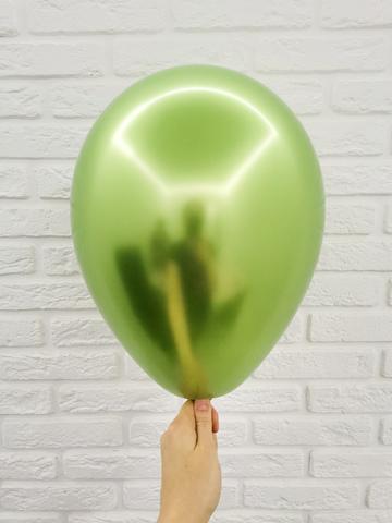 №7 Зелёный Гелиевый шар Хром с обработкой