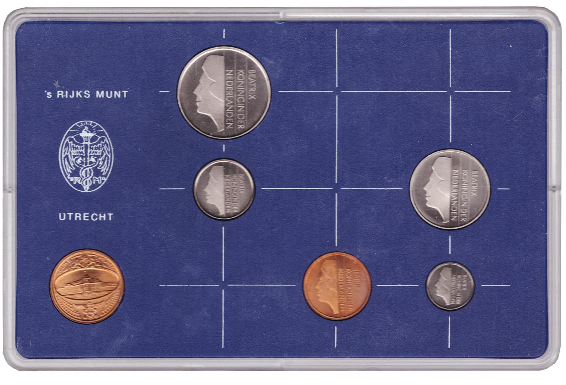 Набор монет Нидерландов 1983 UNC в пластиковой упаковке