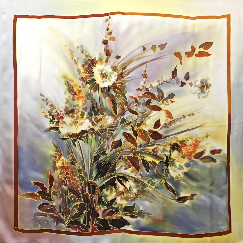 Шелковый платок батик Полевой С-74