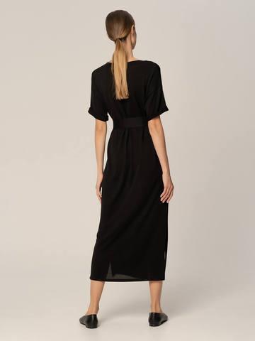 Женское платье черного цвета из шелка и вискозы - фото 3