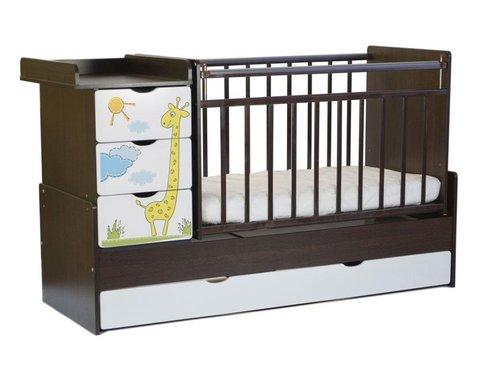 Кровать – трансформер Жираф фотопечать, 4 ящика, маятник поперечный