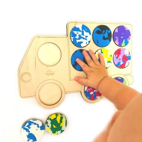 Игра для малышей мемо Машинка Сенсорика