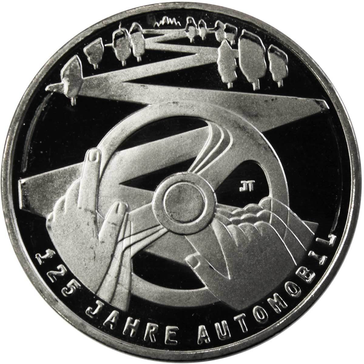 10 евро. 125 лет автомобилю (F). Медноникель. 2011 год