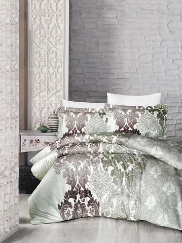 Комплект постельного белья DO&CO Сатин DELUX SIERRA 2 спальный Евро светло-зеленый