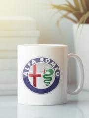 Кружка с рисунком Альфа Ромео (Alfa Romeo) белая 001