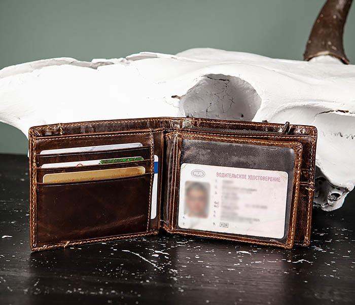 WL329-2 Вместительное мужское кожаное портмоне с монетницей фото 06