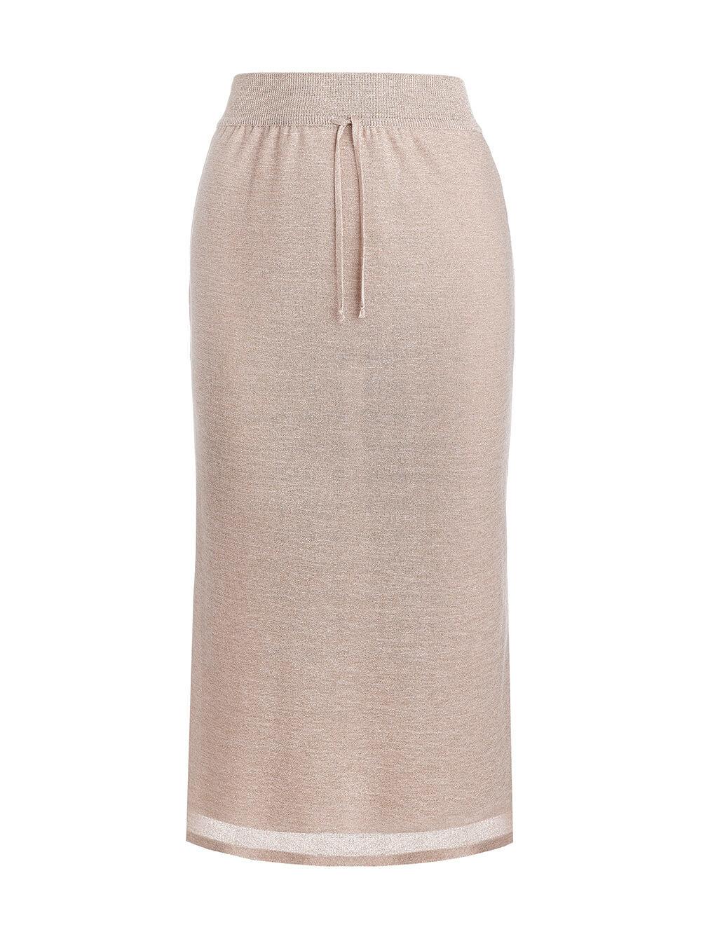 Женская двухслойная юбка-карандаш с люрексом золотого цвета - фото 1