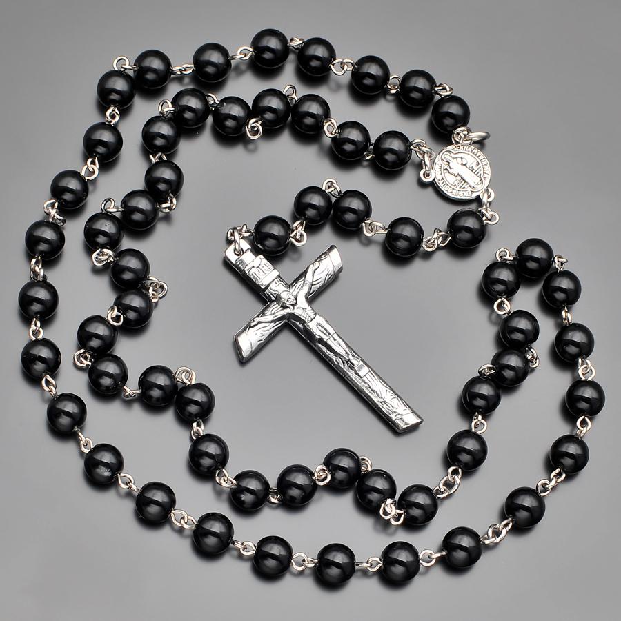 Мужские бусы из агата с крестом Rico la Cara AMX000567