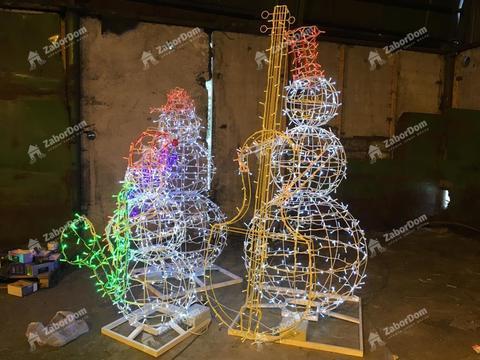 Световая фигура Снеговик музыкант