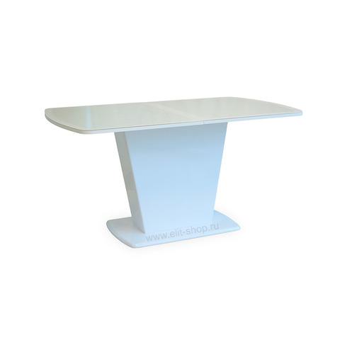 Стол СТЮВЕР КОЖА Е-20 Белый / стекло белое / подстолье белое / колонна №16 белая / 150(190)х90см