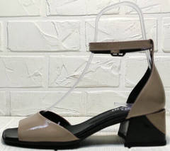 Открытые босоножки с закрытой пяткой и открытым носком женские Derem 602-464-7674 Beige Black.