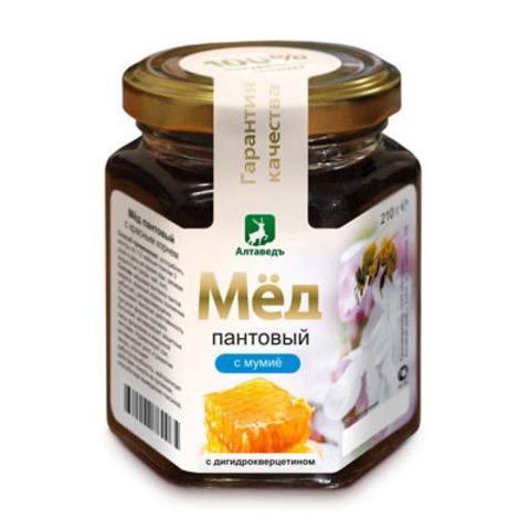 Пантовый мёд с мумиё и дигидрокверцетином Алтаведъ, 210г