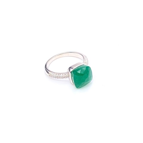 33349 -Кольцо из серебра Caramel с изумрудным кварцем и фианитами