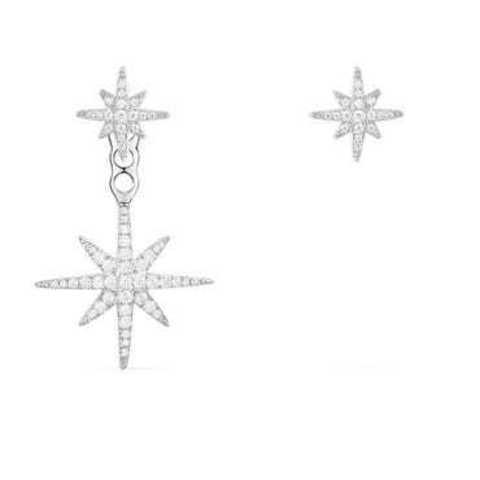 AE1097- Ассиметричные серьги-пусеты Meteorites  из серебра с цирконами