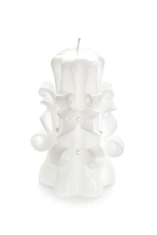 Свеча-резная ручной работы LACE WHITE-M (кружева белоснежные), h 11 см TM Aromatte