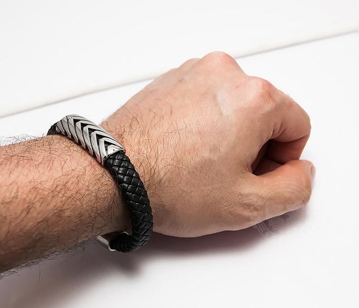 BM459 Крупный мужской браслет из кожи со стальной вставкой (20,5 см) фото 07