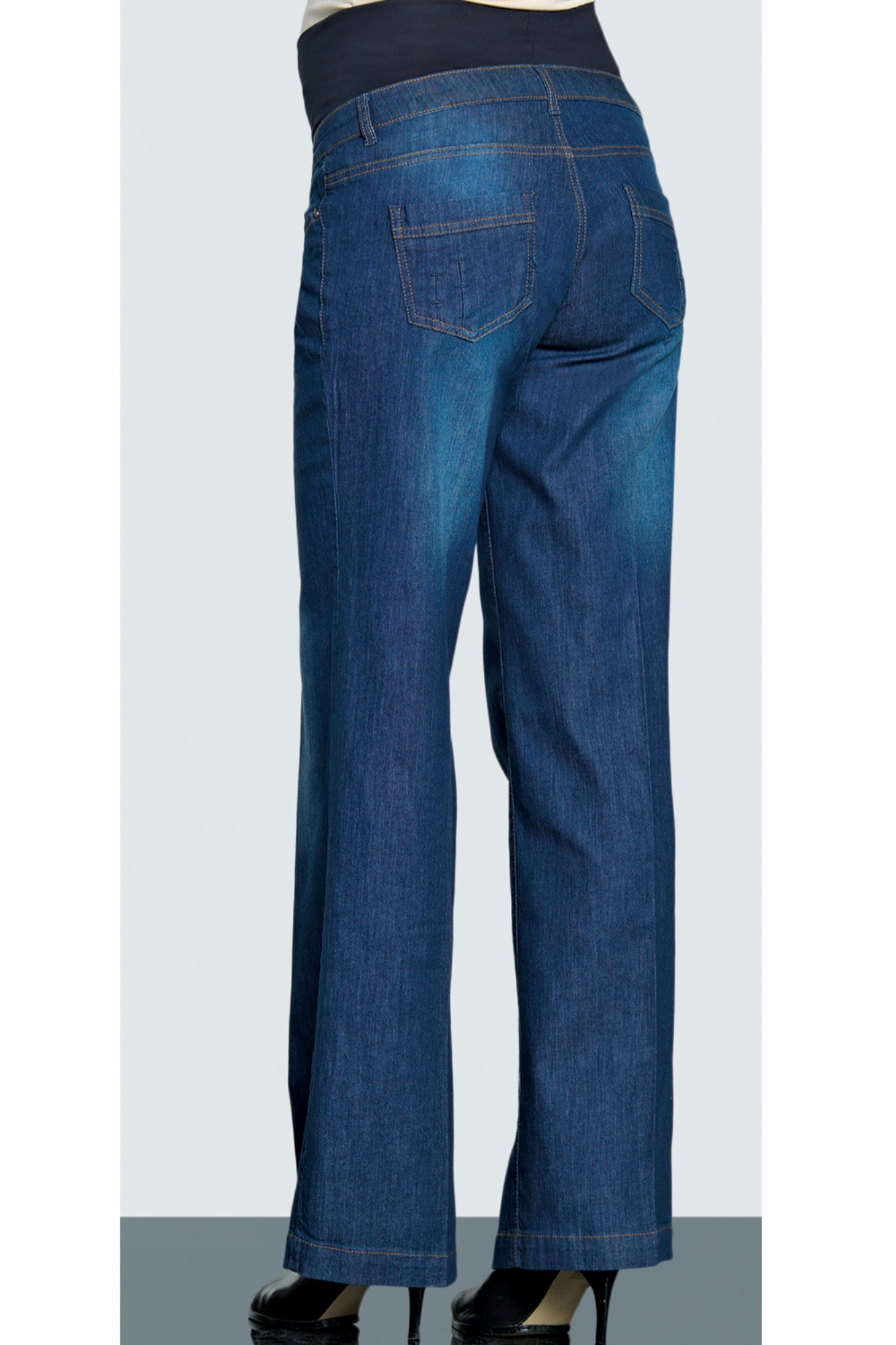 Фото джинсы для беременных EBRU, широкие, вставка, высокая посадка от магазина СкороМама, синий, размеры.