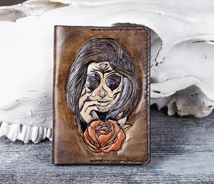 BC169 Обложка в стиле мексиканского Дня Мертвых, ручная работа фото 02