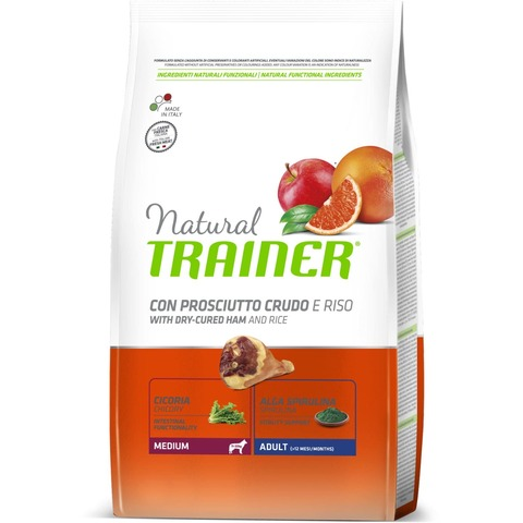 Сухой корм Trainer Natural Dog Medium Adult - Dry-Cured Ham and Rice 12 кг.