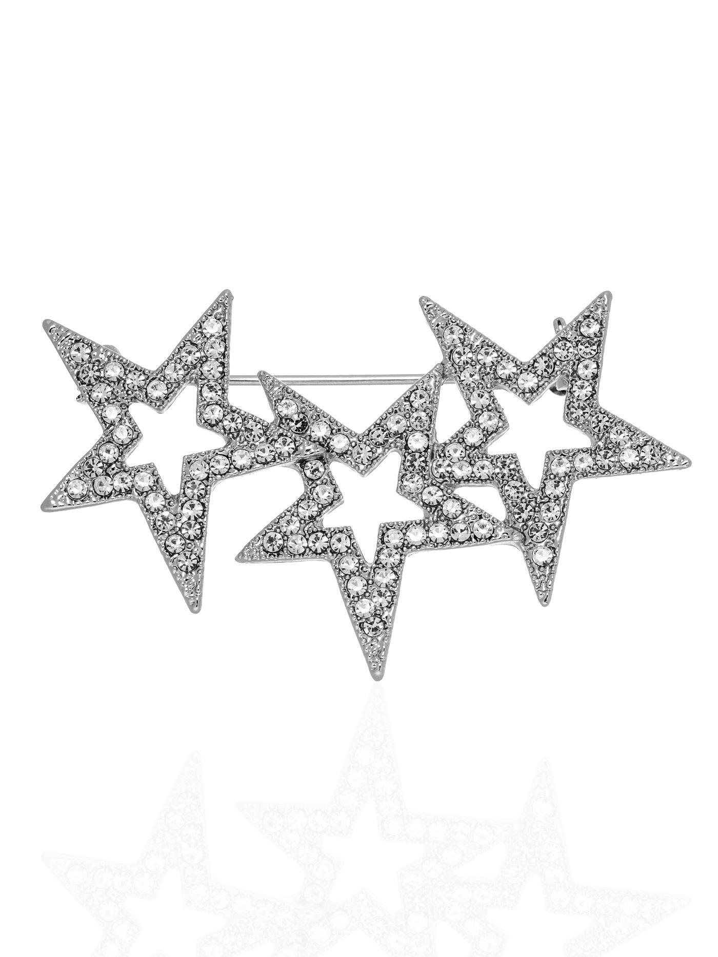 Брошь Звезды с фианитами в подарочной коробке