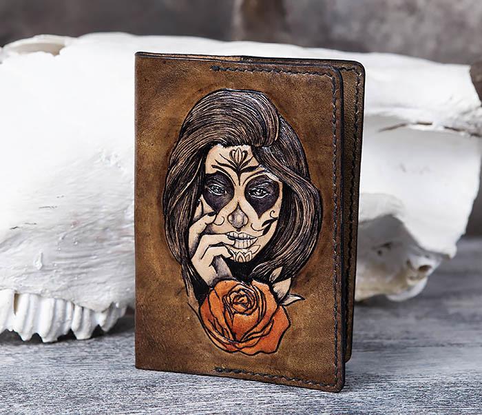 BC169 Обложка в стиле мексиканского Дня Мертвых, ручная работа фото 03