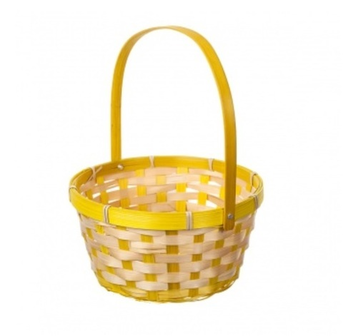 Корзина плетеная (бамбук), размер:D21хH24 см, цвет:жёлтый