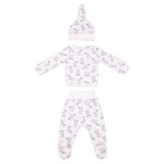 Mini Fox. Комплект для новорожденных 3 предмета, зайцы серые вид 2