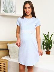 Мамаландия. Сорочка для беременных и кормящих с горизонтальным секретом и кружевом, голубой меланж