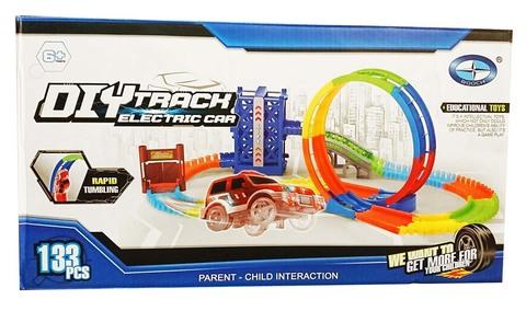 Трек DIY Track Electric Car 133 деталей + светящаяся машинка+мертвая петля+лифт+ворота