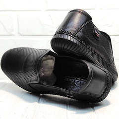 Casual мужские туфли мокасины кожаные Ridge Z-291-80 All Black.